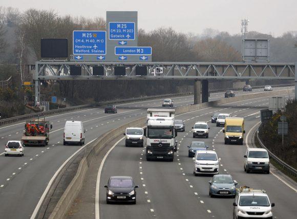 The M3 smart motorway near Longcross in Surrey via PA