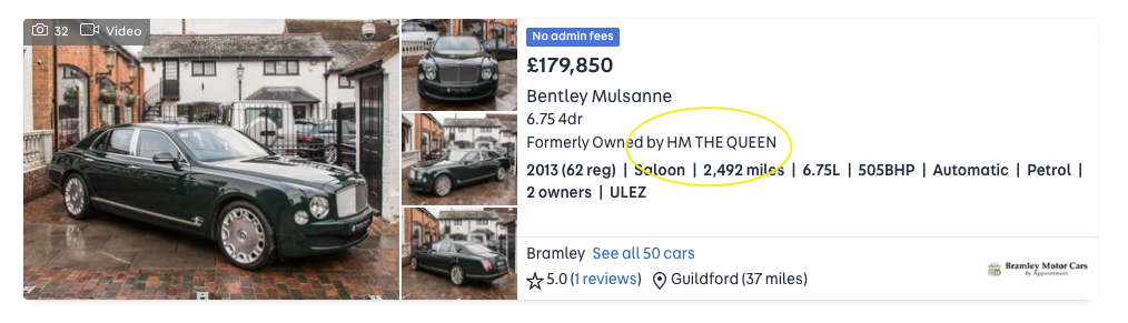 Snippet of the Auto Trader advert for the Queen's Bentley