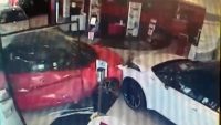 Lucky escapes at dealership as customer crashes through front while in Yaris demonstrator