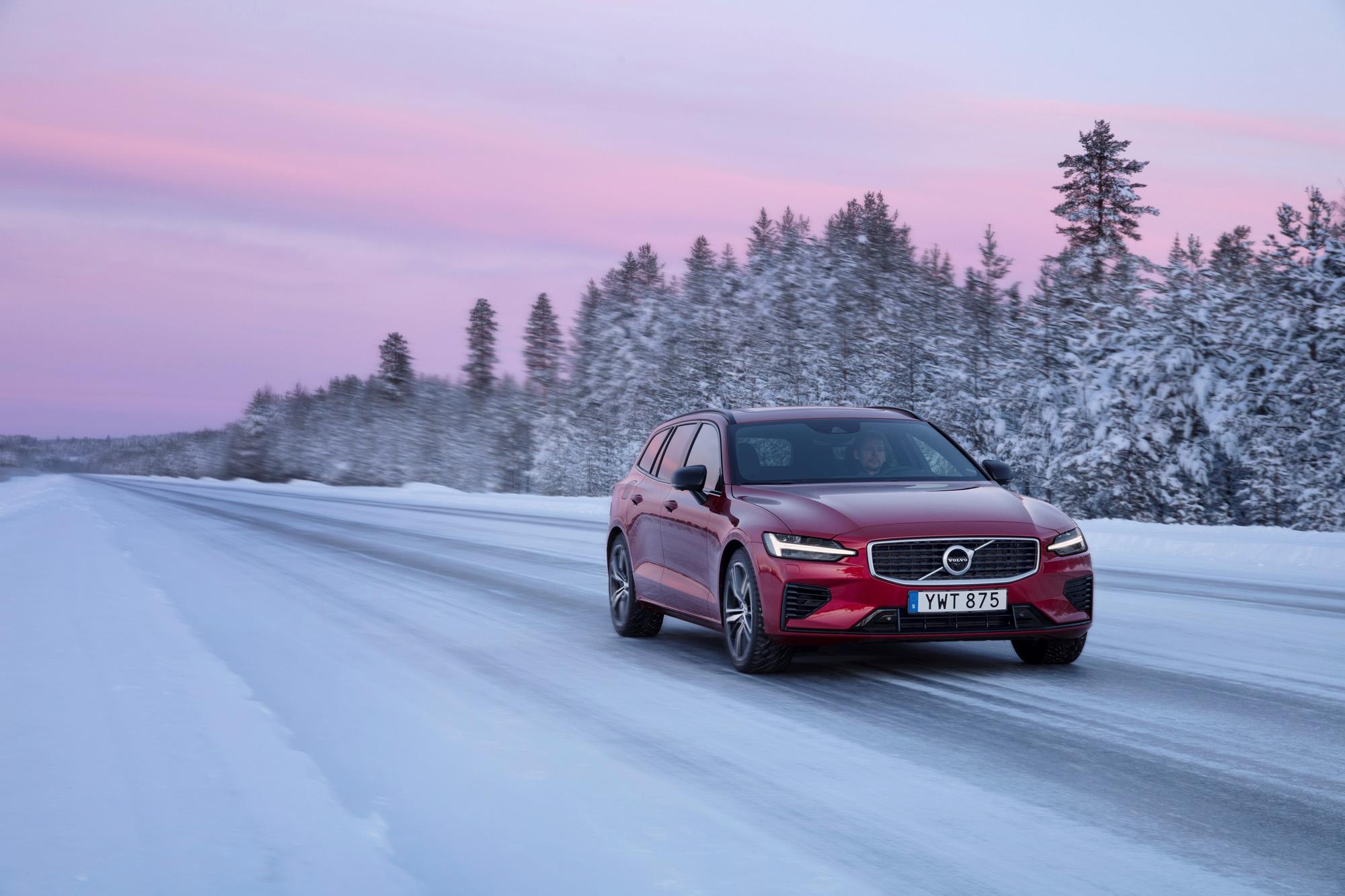 Volvo V60 on a snowy road
